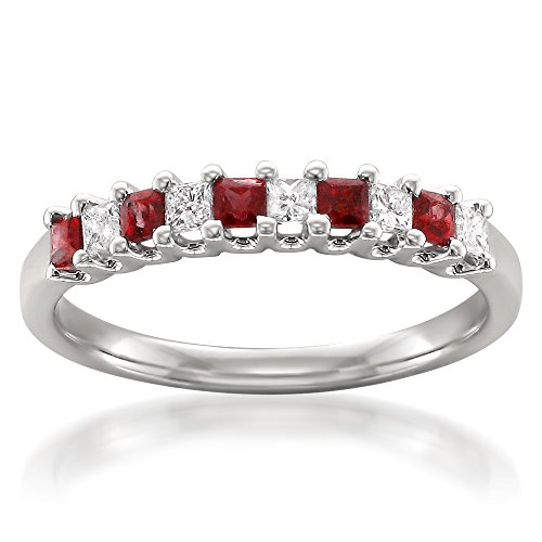 (La4ve Diamonds 14k White Gold Princess-cut Diamond & Red Ruby Bridal Wedding Band Ring (1/2 cttw, H-I, I1-I2), Size 7)