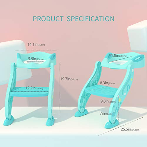 KIDPAR Potty Training Seat for Kids,Adjustable Toddler Toilet Potty Chair with Sturdy Non-Slip Step Stool Ladder, Comfortable Handles and Splash Guard, Easy to Assemble Toilet Seat for Boys and Girls by KIDPAR (Image #1)