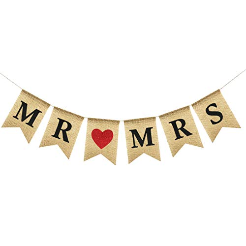 Uniwish Mr and Mrs Banner Burlap Sign for Wedding Table Decorations, Vintage Rustic Hanging Bunting Garland Bridal Shower Party Favors -