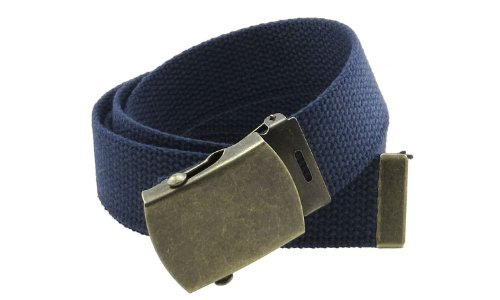 Navy Canvas Belt (Canvas Web Belt Military Style with Antique Brass Buckle and Tip 50