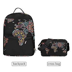Mochila con bolsa cruzada desmontable, diseño de mapa del mundo, para viajes, senderismo, acampada