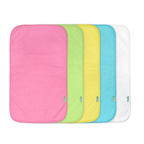 green sprouts Stay-Dry Burp Pads (5 Count) | Ultimate protection from drools & spit ups | Waterproof protection, Soft & absorbent terry, Machine washable (Changing Baby Pad Terry)