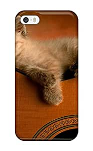 Premium BevqiHi5609VnEGl Case With Scratch-resistant/ Kitten On Guitar Cat Animal Cat Case Cover For Iphone 5/5s