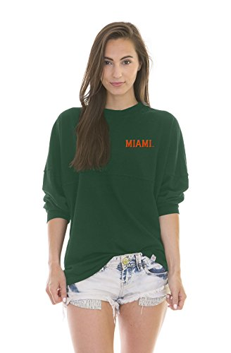 NCAA Miami Hurricanes Women's Jade Long Sleeve Football Jersey, Forest Green, Small