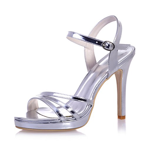 Clearbridal Women's Patent leather Open Toe Bridal Sandal for Wedding Prom Shoes ZXF5915-27 Silver oAJ9m