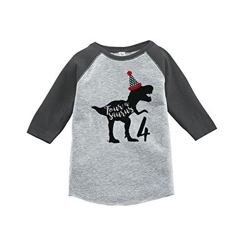 7 ate 9 Apparel Four Forth Birthday Dinosaur Grey Baseball Tee 4T (Peel T-shirt Transfer)