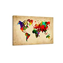 "Pictures on canvas length 31,5"" height 24"" Nr 4138 map of the world ready to hang, brand original Visario !"