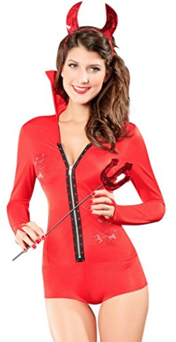 Leia Costume Uk (IF FEEL Women Halloween Sexy Charming Angel And Devil Dress Costume Set (One size, Red))