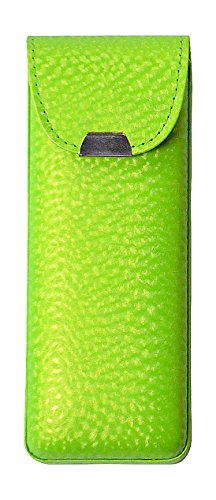 Eyeglass Case Top Snap Closure Metal Embellishment Pearly Shade Of Lime - Green Lime Eyeglasses