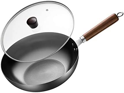 ふたが付いている中華なべのコーティングされていない鉄鍋は錆びない調理鍋の電磁調理器のガスこんろのガスこんろの普遍的な鍋、30CM (Size : 30CM)