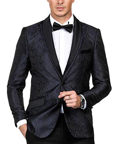 [해외]폴 존스 남자의 꽃 자 카드 정장 재킷 분리형 새틴 칼라 한 버튼 블 레이저 / PAUL JONES Men`s Floral Jacquard Suit Jacket Detachable Satin Collar One-Button Blazer