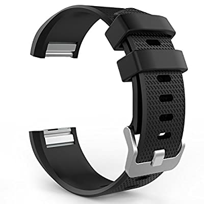 MoKo Soft Silicone Adjustable Replacement Sport Strap Band for Fitbit Charge 2 Smartwatch Heart Rate Fitness Wristband. by MoKo