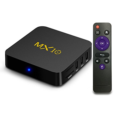 Android tv Box 8.1, MX10 Android TV Box with Quad Core 4GB DDR4 /32GB eMMC Storage True 4K HDR @60fps UHD Video Playback USB 3.0 and Fast Ethernet Port/WiFi [M8S MXQ Upgraded/ 8 Seconds Fast Boot] (Cody Box)