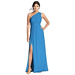 David's Bridal Long Chiffon Bridesmaid Dress with Asymmetric Neckline Style F18055