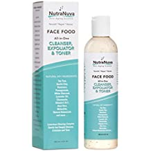 NutraNuva Face Food – Cleanser, Exfoliator & Toner All-in-One – Clear Skin Natural VEGAN Facial Wash, Tea Tree & Clay, Gentle Clean Anti Aging, Not Drying/Oily, Restore pH, Fight Acne, 6 Oz