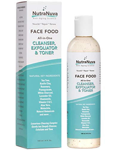 NutraNuva Face Food - Cleanser, Exfoliator & Toner All-in-One - Clear Skin Natural VEGAN Facial Wash, Tea Tree & Clay, Gentle Clean Anti Aging, Not Drying/Oily, Restore pH, Fight Acne, 6 Oz (Best Face Exfoliator For Acne)