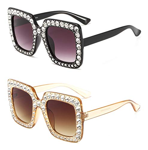 MAOLEN Square and Round Oversized Gradient Shades Crystal Sunglasses for Women (square black-grey and square brown-brown)