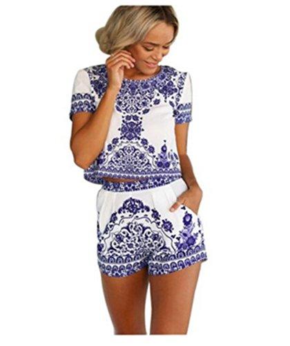 Crop JumpSuit 2 Outfit Short Iasion Sleeve Pants Blue Women's Pieces White Top Print Short 54IxnP0YP
