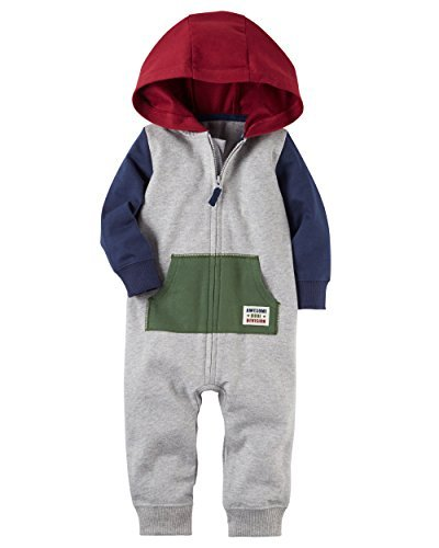 Carter's Baby Boys French Terry Hooded Romper Jumpsuit, Tricolor, 12 (Tri Color Kids Jacket)