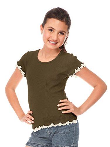 Kavio! Big Girls 7-16 Lettuce Edge Short Sleeve Top Army Green/Nude L -