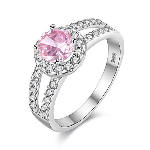 (Uloveido Women Rhodium Plated Brass Round Cut Pink CZ Zircon Crystal Ring Split Shank Rhinestone Wedding Band Promise Ring for Her Birthday Gifts Idea for Her Girl-Friend (Pink, Size 9) J510)