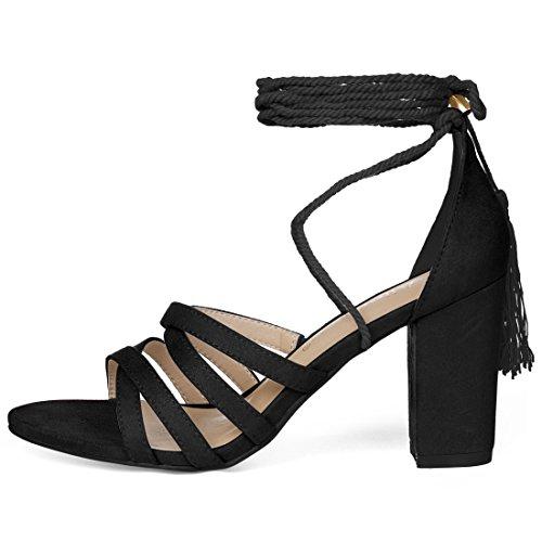 Allegra K Womens Tassel Lace Up Heeled Sandals Black yISzl202m