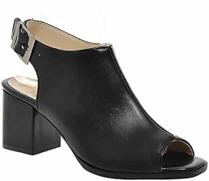 92e169ddf929 Milesline Fashion Women s Peep Toe Faux Leather Open Back Bootie Summer  Buckle Chunky Heel Ankle Boot