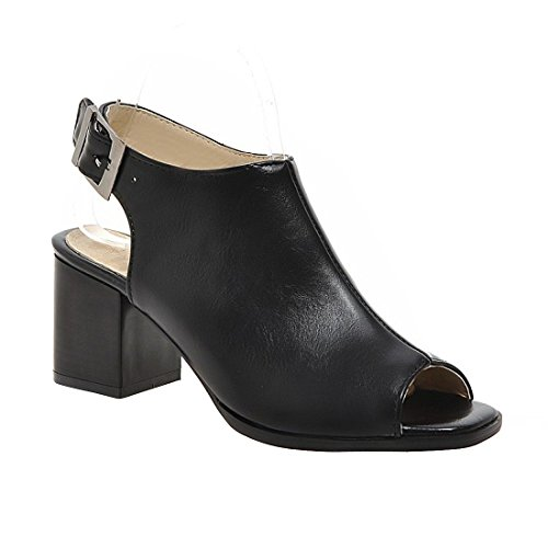 Milesline Fashion Women's Peep Toe Faux Leather Open Back Bootie Summer Buckle Chunky Heel Ankle Boot by Milesline