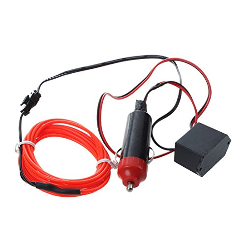 TOOGOO LED Flexible EL Wire Neon Glow Tube Lamp Light DC 12V Inverter for Car, 2M Red