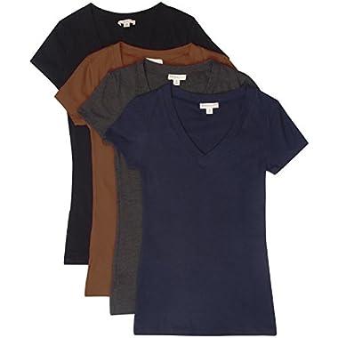 TL Women's 2 or 3 or 4 Pack Basic Cotton Short Sleeves Solid V-neck T-shirts SET4-BK_MOCHA_CHAR_NAV