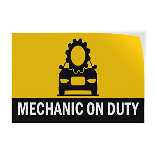 Mechanic On Duty #1 Indoor Store Sign Vinyl Decal Sticker - 9.25inx24in, by Sign Destination