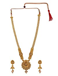 Efulgenz Indian Bollywood Traditional 14 K Gold Plated Crystal Kundan Wedding Temple Necklace Earrings Jewelry Set
