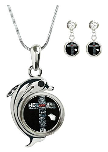 - COW GO GO Image Custom Charm Pendant Silver Chain Dolphin Jewelry Earring Studs Set for Women (Christ Christian Cross)
