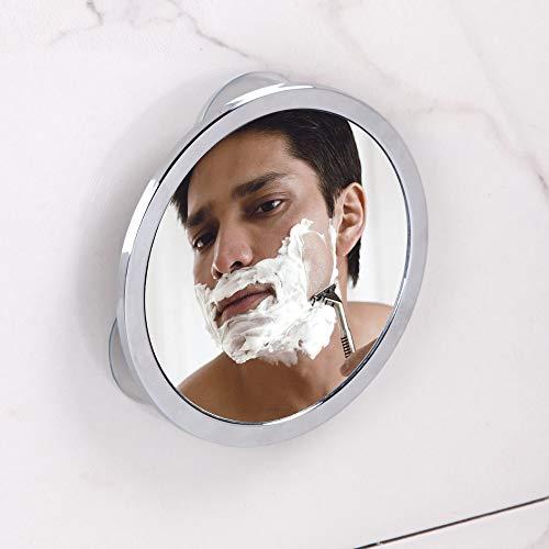 iDesign Gia Metal Suction Shower Shaving Mirror for Bathroom, Vanity, Bathtub, Wall, -
