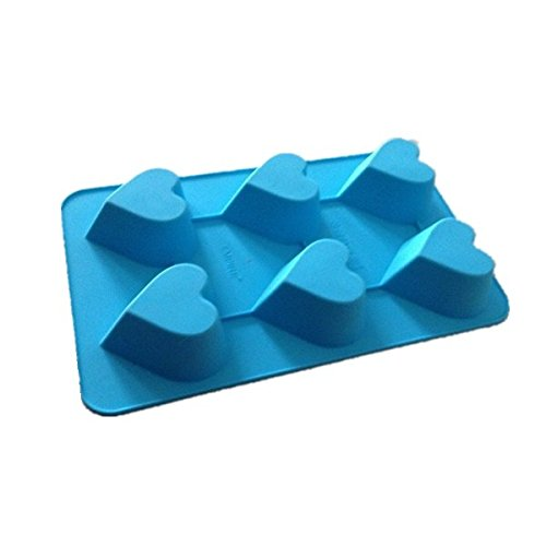 Allforhome(TM) 6 Cavities Heart Silicone Soap Mold Cake Mold Muffin Cups Handmade Craft Art DIY Mold Polymer Clay Chocolate Ice Cube Tray DIY Mold