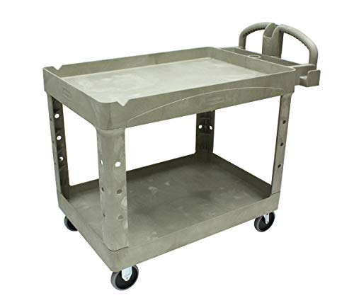 Rubbermaid Commercial Products 2-Shelf Utility/Service Cart, Medium, Lipped Shelves, Ergonomic Handle, Beige Color, 500 lbs. Capacity, for Warehouse/Garage/Cleaning/Manufacturing (FG452088BEIG) from Rubbermaid Commercial Products