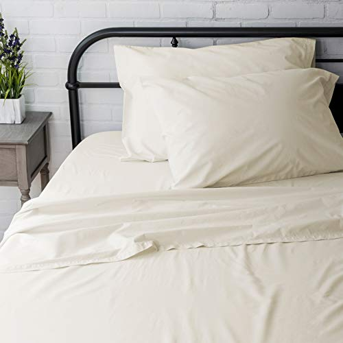 Welhome Twin Size Sheet Set - 3 Piece - 100% Cotton Washed Percale - Breathable - Soft and Cozy - Deep Pocket - Easy fit - 200 Thread Count- Ivory