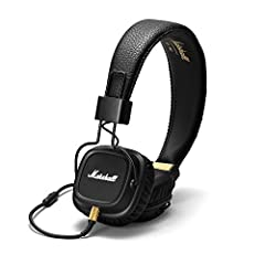 The wrinkled headband and contrast detailing on the Marshall Major II headphones create a true rock-and-roll vibe. Soft, on-the-ear cushions keep them comfortable, while the collapsible construction adds convenience. Remote and microphone com...