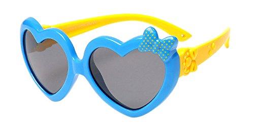 BOZEVON Unisexe Polarisées Lunettes de Soleil pour Enfants Garçons Filles Mignonne Monture en caoutchouc flexible Sport Lunettes Bleu Royal/Jaune