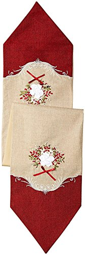 (Violet Linen Decorative Artistic Burlap Embroidered Table Runner, 13
