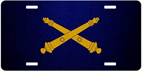 ExpressItBest Premium Aluminum License Plate - U.S. Army Field Artillery, branch insignia