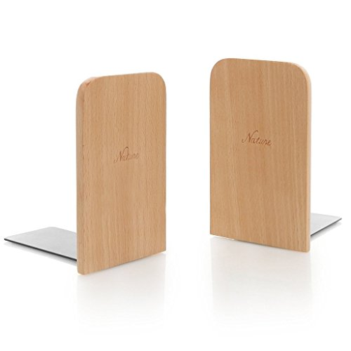 Simple Wood Japanese Style Nature Beech Wood Book Stand Bookends Book Ends Shelf Shelves Holder Log color (Square)