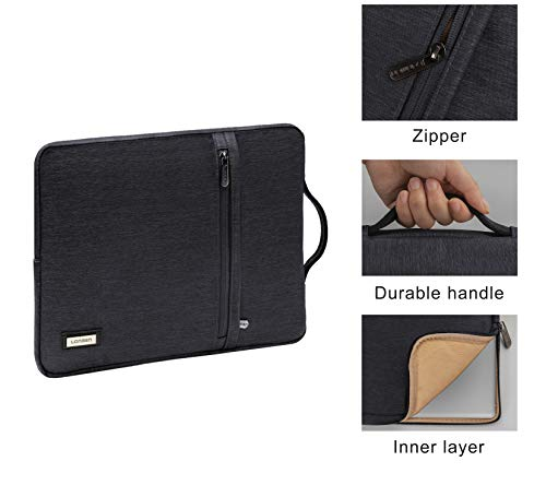 "LONMEN 10.1 Inch Laptop Sleeve Waterproof Tablet Protective Carrying Case for 9.7""iPad Air 2/9.7"" Samsung Galaxy Tab S3/10.1""Lenovo Yoga Book/10.5"" iPad Pro with Handle,Dark Grey"
