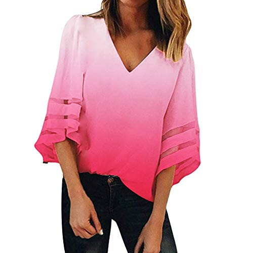 LYN Star✨ Women's Casual V Neck Mesh Panel 3/4 Bell Sleeve Solid Loose Blouse Top Summer Tunic Tops Tie Dye Blouse Watermelon Red