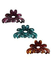 Baosity 3Pcs Vintage Charm Hair Claw Clamp Clip Acrylic Barrette Hair Accessories Hair Holder for Women