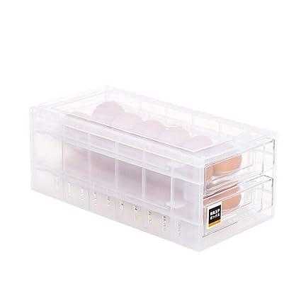 JYCRA Huevos Caja de Almacenamiento, 24 Rejillas de Doble Nivel cajón Huevo Soporte Nevera Bandeja