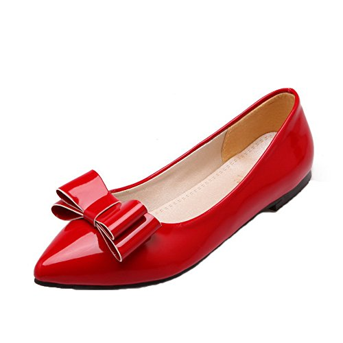 VogueZone009 Women's PU Low-Heels Closed-Toe Pull-On Pumps-Shoes Red