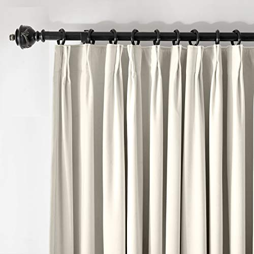 Pleated Drapery - ChadMade Pinch Pleated 120W x 84L Blackout Lined Velvet Curtain Drapery Panel for Traverse Rod or Track, Living Room Bedroom Meetingroom Club Theater Patio Door (1 Panel), White