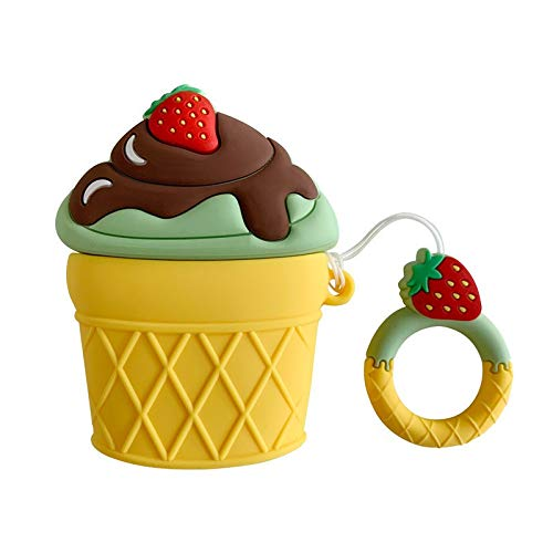 Ultra Thick Soft Silicone Strawberry Ice Cream Cone Case Finger Loop for Apple Airpods with Charging Case Cartoon Matcha Chocolate Cute Lovely Kawaii Fresh Fun Summer Girls Teens Women ()