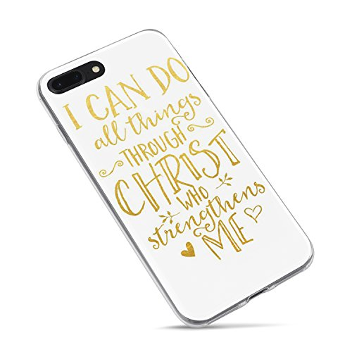 iPhone 7 Plus Girls Case,iPhone 8 Plus Case,Cute Bible Verses Christian Inspirational Motivational Life Quotes Can Do All Things Through Christ Soft Clear Side Case for iPhone 8 Plus/iPhone 7 Plus